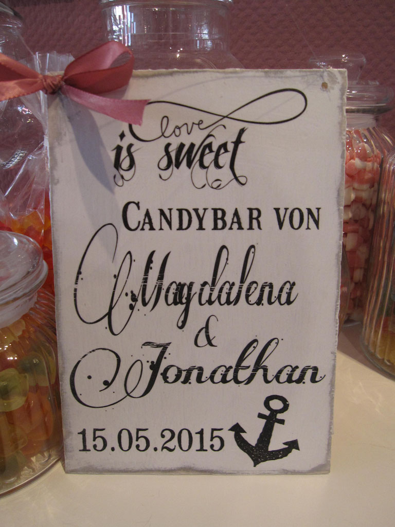 hochzeit candybar schild shabby chic vintage schild. Black Bedroom Furniture Sets. Home Design Ideas